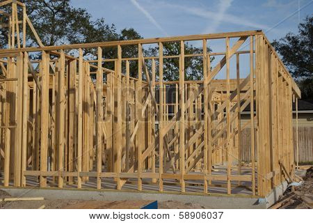 JACKSONVILLE, FLORIDA, USA-SEPTEMBER 15, 2013: Part of a new home under construction in Florida. New home sales fell 6.6 percent in September to a 354,000 annual rate, the weakest since April 2012.