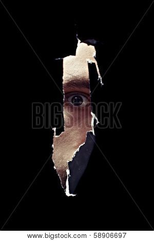 Scary Eye Of A Man Spying Through A Hole In The Wall