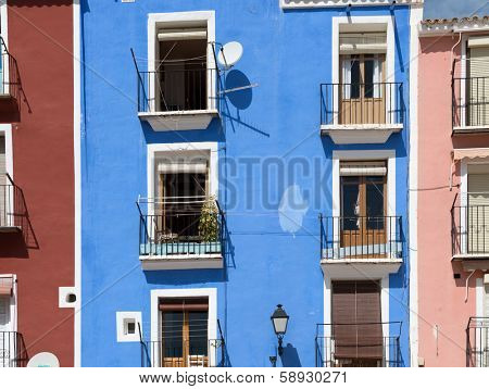 Colorful narrow street in an Spanish coastal village