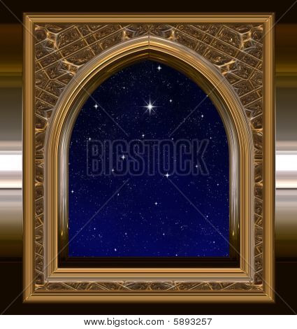 Window Looking Out To Night Sky With Wishing Star