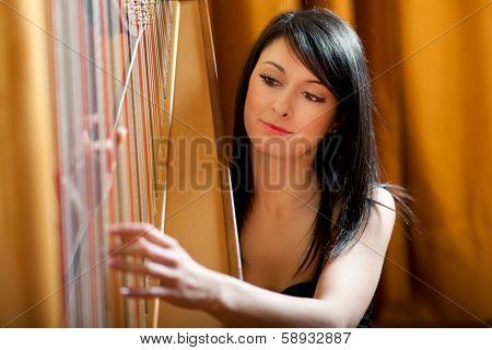 Elegant woman playing the harp