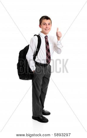 High School Student Thumbs Up Hand Sign