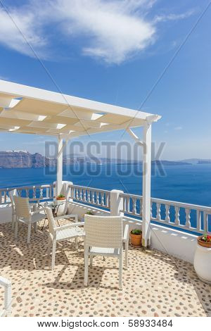 Santorini balconny with view at the Aegean sea