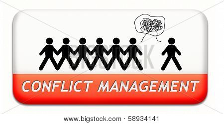 conflict management in business at work or between couple with different interest solve the problem and find resolution poster