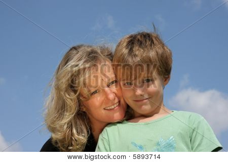 happy mother and son