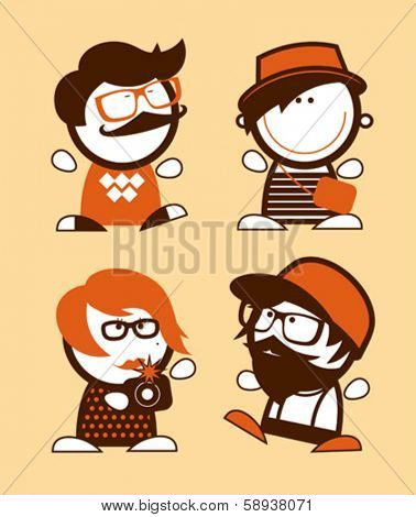 Set of hipster funny people icons.
