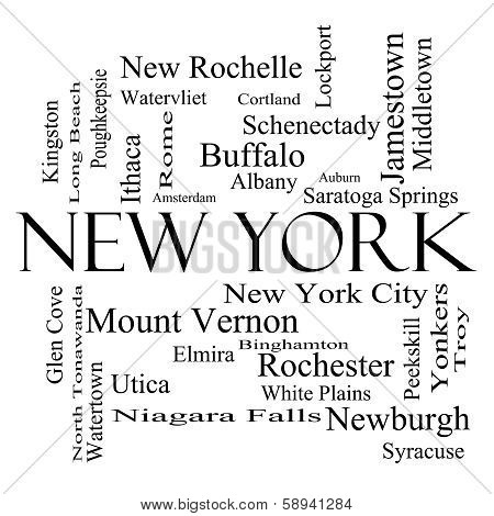New York State Word Cloud Concept In Black And White