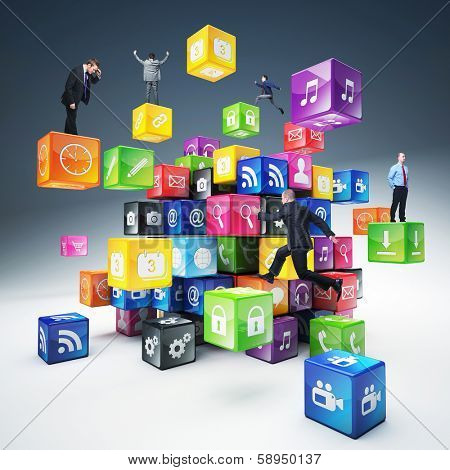 business people on abstract icons cubes