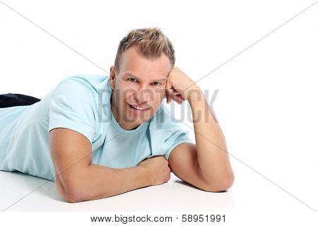 Grown man with a shirt posing in studio