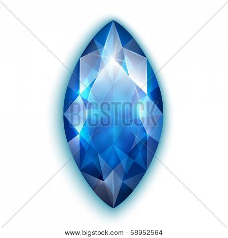 Marquise cut sapphire - eps10 vector