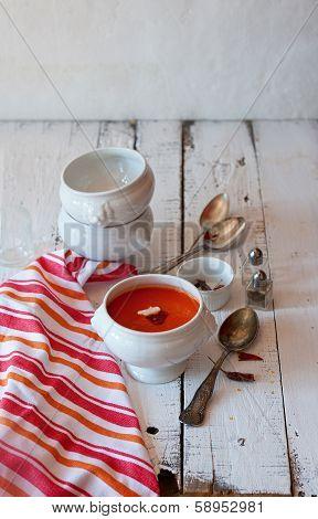 Delicate Tomato Soup In The Bowl