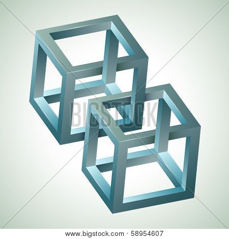 Abstract design, 3D impossible figure. Vector illustration. poster