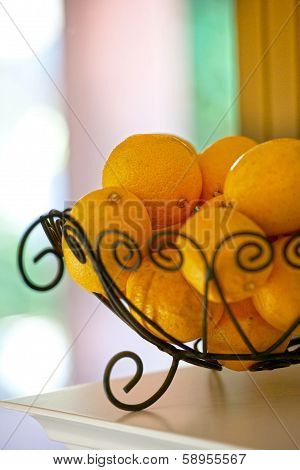 A Basket Lemon, Which Is Healthy,, Dietary And Helps Lose Weight