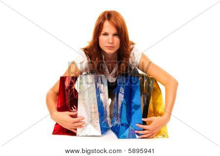Woman Shielding Her Presents