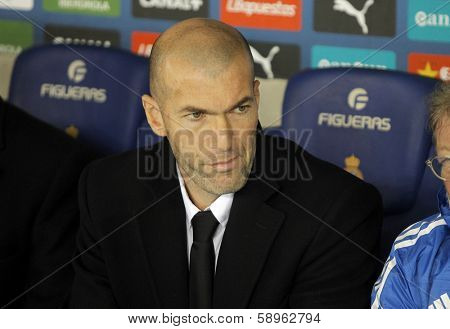 BARCELONA - JAN, 12: Real Madrid Sporting Diretor Zinedine Zidane during the Spanish League match between Espanyol and Real Madrid at the Estadi Cornella on January 12, 2014 in Barcelona, Spain