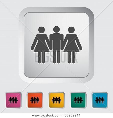 Group sex sign. Single flat icon on the button. Vector illustration. poster