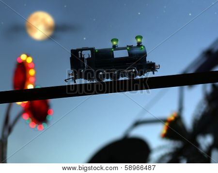 Magical concept image of childhood with blurred carnival lights, a classic toy train, and starry night sky poster