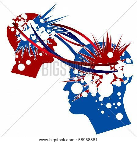 Knowledge Transfer symbolically depicted in red and blue colors. poster