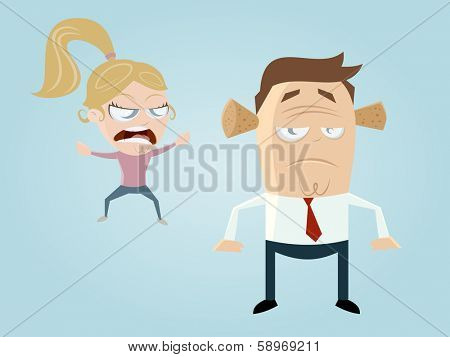 complaining cartoon girl and guy with noise protection