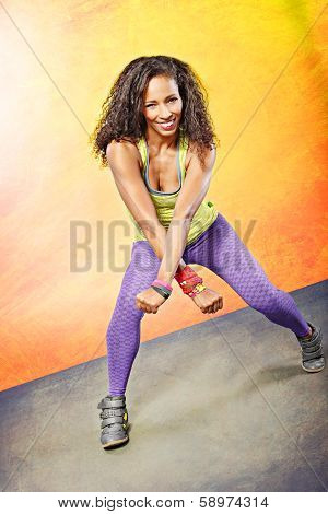 young woman at fitness exercise or zumba dancing poster