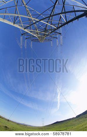 High tension electrical tower and blue sky, Rueda de Jalon, Zaragoza, Spain