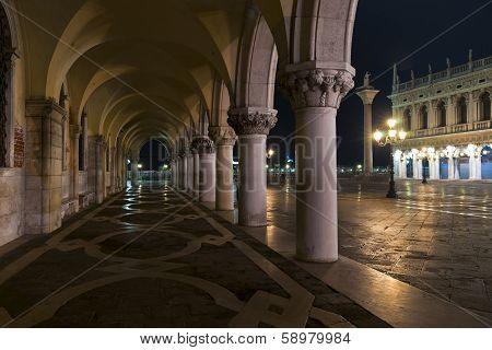 Doges Palace Arcade At Night
