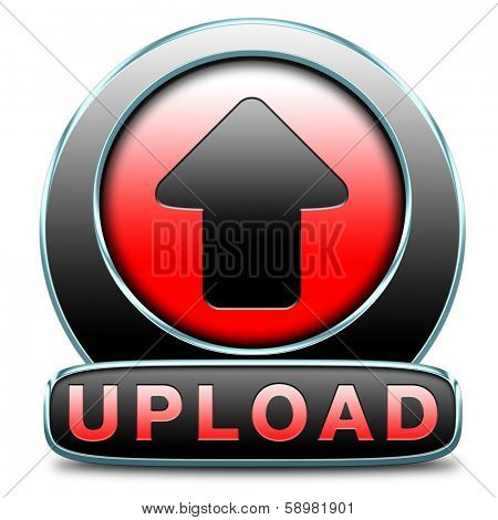 Upload file document movie or video button or uploading picture photo or image icon