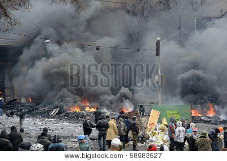 KIEV, UKRAINE - JANUARY 23, 2014: Anti-government protest in Kiev,  Grushevsky str.  People defend barricades.