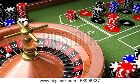 3D closeup of casino table with roulette and chips