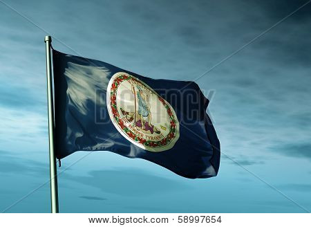 Virginia (USA) flag waving on the wind