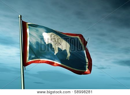 Wyoming (USA) flag waving on the wind
