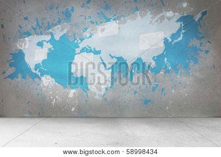 Splash on wall revealing international email concept poster