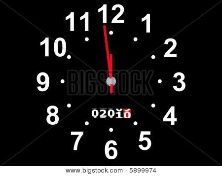 Coming new year on a hybrid of watch and an automobile speedmeter poster