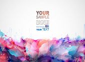 blue abstract background forming by blots and design elements poster