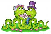 Wedding image with cute snakes - color illustration. poster