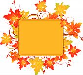 Fall colors adorn background, perfect for greeting cards or retail signage.  Vector illustration perfect for Thanksgiving and Halloween poster