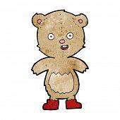cartoon happy teddy bear in boots poster