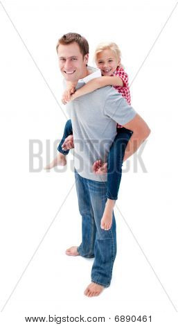 Portrait Of  Father Giving His Daughter Piggyback Ride