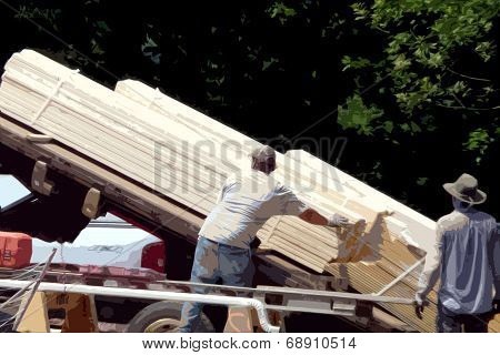 cutout of Construction workers with Lumber