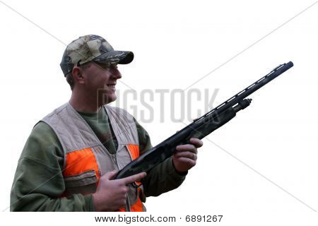 Hunter In Safety Vest Isolated With Clipping Path