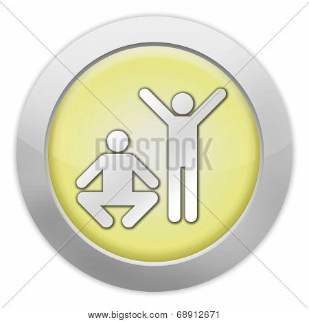 Icon Button Pictogram with Exercise Fitness symbol poster