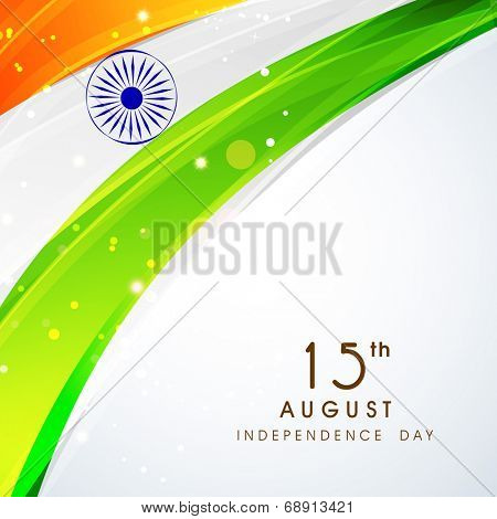 Shiny national flag with asoka wheel on grey background for 15th of August, Independence Day celebrations.