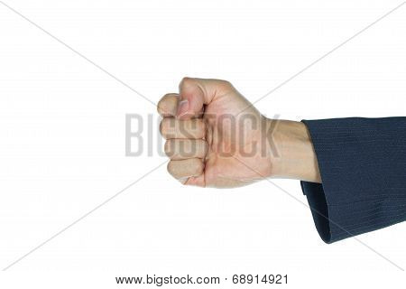 Businessman Fist Or Success In Business Isolated On White