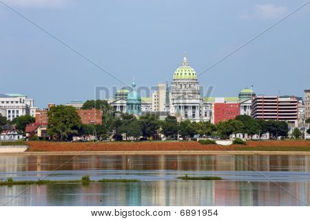 Harrisburg panorama with Capitol building across Susquehanna river poster