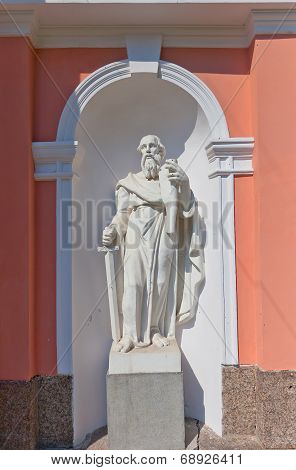Statue of Paul the Apostle of Bell tower (circa 1812) of Exaltation of the Holy Cross (Cossack) cathedral in Saint Petersburg Russia poster