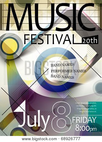 stylish and colorful music festival poster template poster