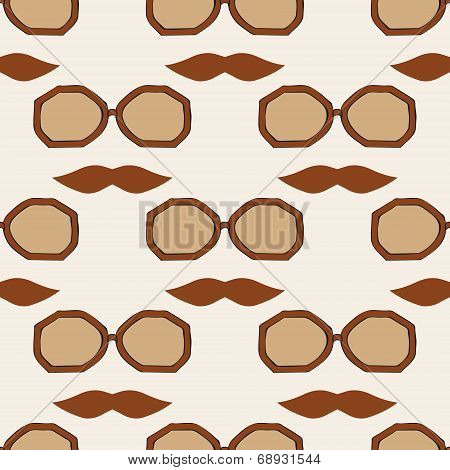 Seamless Glasses And Mustache Pattern