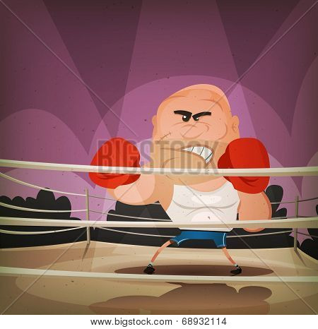 Champion Boxer On The Ring