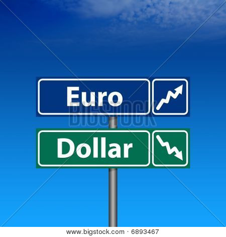 Road Sign, Euro Up, Dollar Down