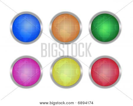 Buttons with globes